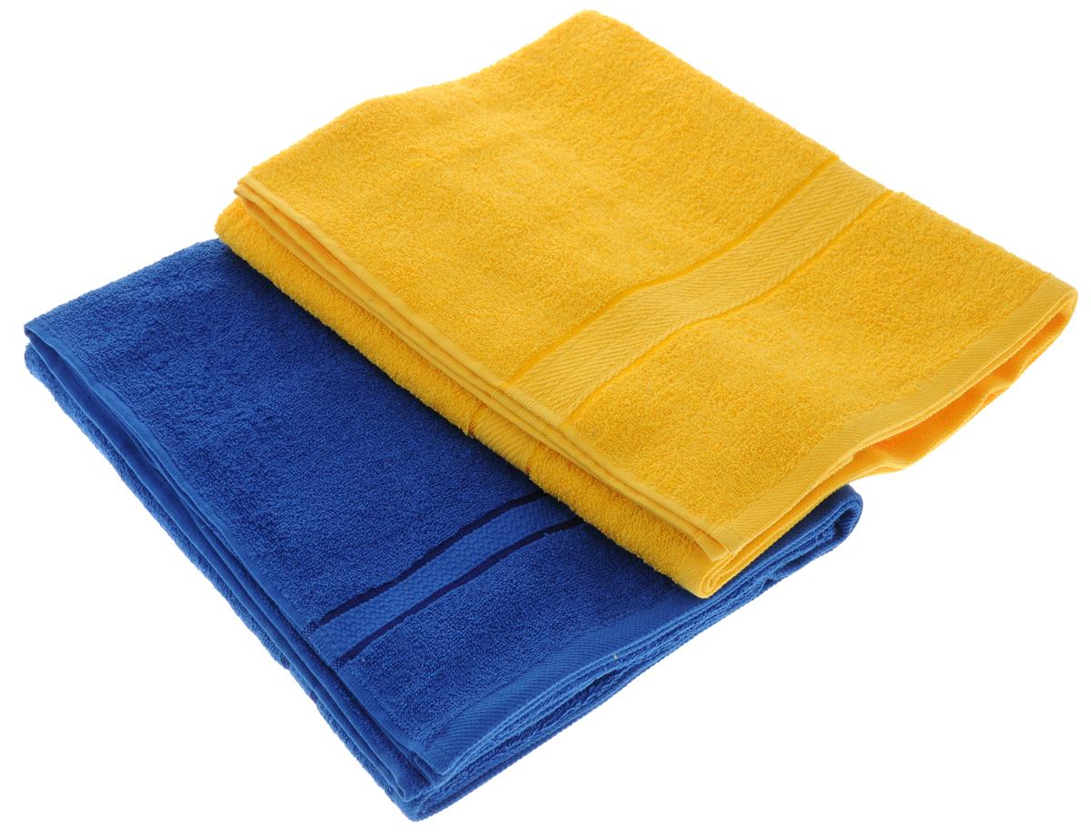 Набор махровых полотенец Aisha Home Textile, цвет: желтый, синий, 70 х 140 см, 2 штУзТ-ПМ-104-21-19Набор Aisha Home Textile состоит из двух махровых полотенец, выполненных изнатурального 100% хлопка. Изделия отлично впитывают влагу, быстро сохнут,сохраняют яркость цвета и не теряют формы даже после многократных стирок. Полотенца Aisha Home Textile очень практичны и неприхотливы в уходе.Комплектация: 2 шт.