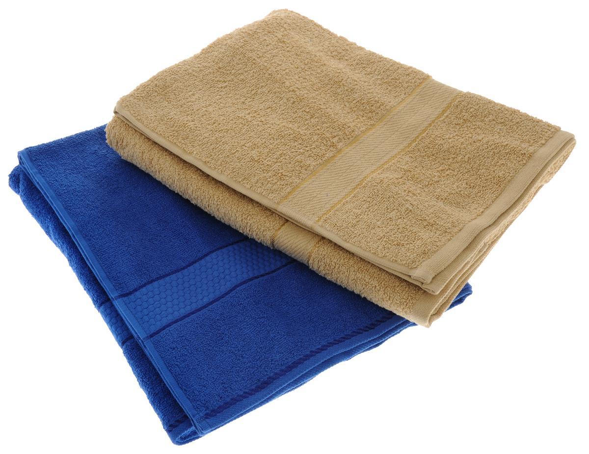 Набор махровых полотенец Aisha Home Textile, цвет: светло-коричневый, синий, 70 х 140 см, 2 штУзТ-ПМ-104-23-19Набор Aisha Home Textile состоит из двух махровых полотенец, выполненных из натурального 100% хлопка. Изделия отлично впитывают влагу, быстро сохнут, сохраняют яркость цвета и не теряют формы даже после многократных стирок.Полотенца Aisha Home Textile очень практичны и неприхотливы в уходе. Комплектация: 2 шт.