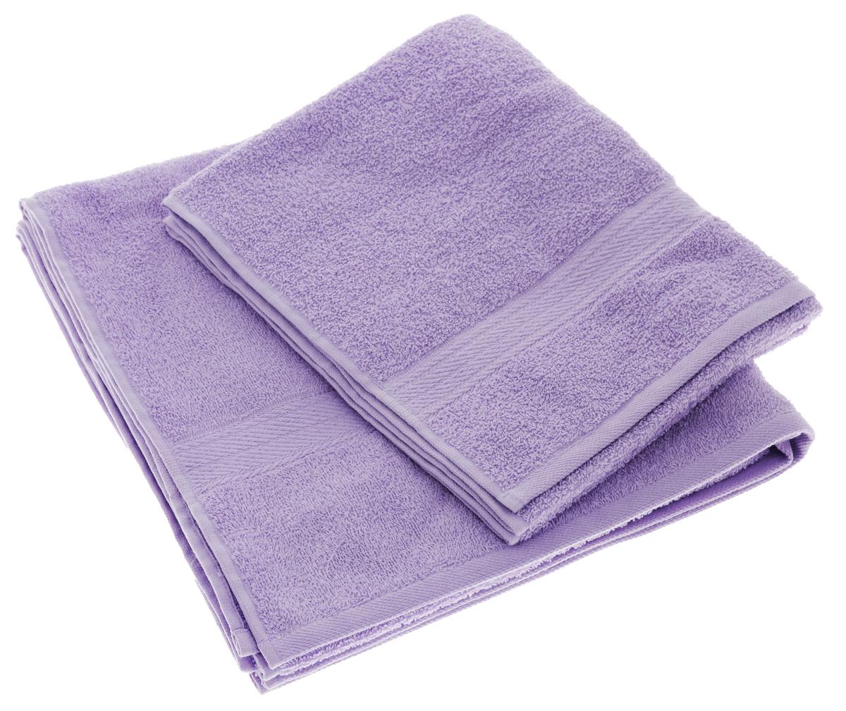 Набор махровых полотенец Aisha Home Textile, цвет: сиреневый, 2 шт. УзТ-НПМ-102 набор полотенец 2 шт fiesta textile цвет розовый