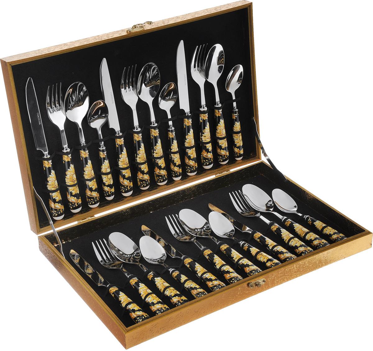 Набор столовых приборов Mayer&Boch Версаче, 24 предмета24918Набор Mayer & Boch Версаче состоит из 24 предметов: 6 столовых ложек, 6 вилок, 6 ножей, 6 чайных ложек. Столовые приборы изготовлены из высококачественной нержавеющей стали с зеркальной полировкой. Изящные фарфоровые ручки декорированы красивыми разноцветными узорами.Набор подходит как для ежедневного использования, так и для торжественных случаев. Приборы хранятся в специальной подарочной коробке золотистого цвета, закрывающейся на замок-задвижку. Столовые наборы являются важной составляющей каждого дома. Стильный, лаконичный дизайн и отличное качество делают столовые приборы Mayer & Boch желанной покупкой для любого, даже самого взыскательного клиента.Длина столовой ложки/вилки: 20 см. Длина ножа: 22 см. Длина чайной ложки: 16,5 см.