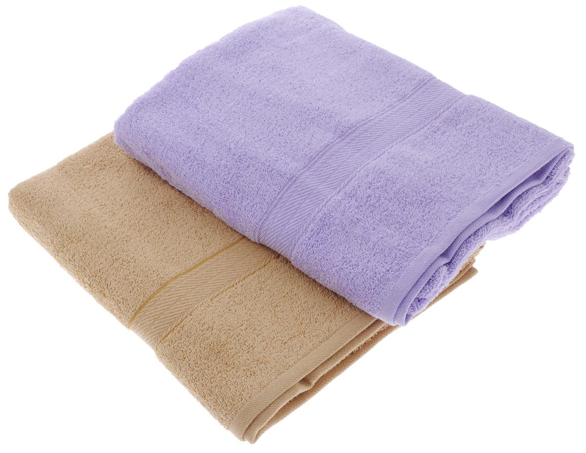 Набор махровых полотенец Aisha Home Textile, цвет: светло-коричневый, сиреневый, 70 х 140 см, 2 штУзТ-ПМ-104-23-05Набор Aisha Home Textile состоит из двух махровых полотенец, выполненных из натурального 100% хлопка. Изделия отлично впитывают влагу, быстро сохнут, сохраняют яркость цвета и не теряют формы даже после многократных стирок.Полотенца Aisha Home Textile очень практичны и неприхотливы в уходе. Комплектация: 2 шт.