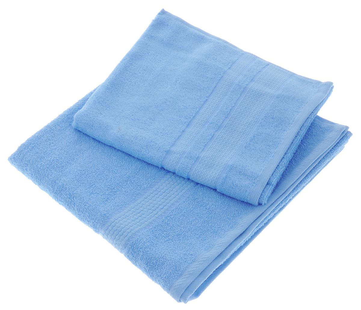 Набор махровых полотенец Aisha Home Textile, цвет: голубой, 2 шт. УзТ-НПМ-10282980Набор Aisha Home Textile состоит из двух махровых полотенец разного размера.В состав входит только натуральное волокно - 100% хлопок. Лаконичные бордюрыподойдут для любого интерьера ванной комнаты. Полотенца прекрасновпитывают влагу и быстро сохнут. При соблюдении рекомендаций по уходу нелиняют и не теряют форму даже после многократных стирок. Комплектация: 2 шт.