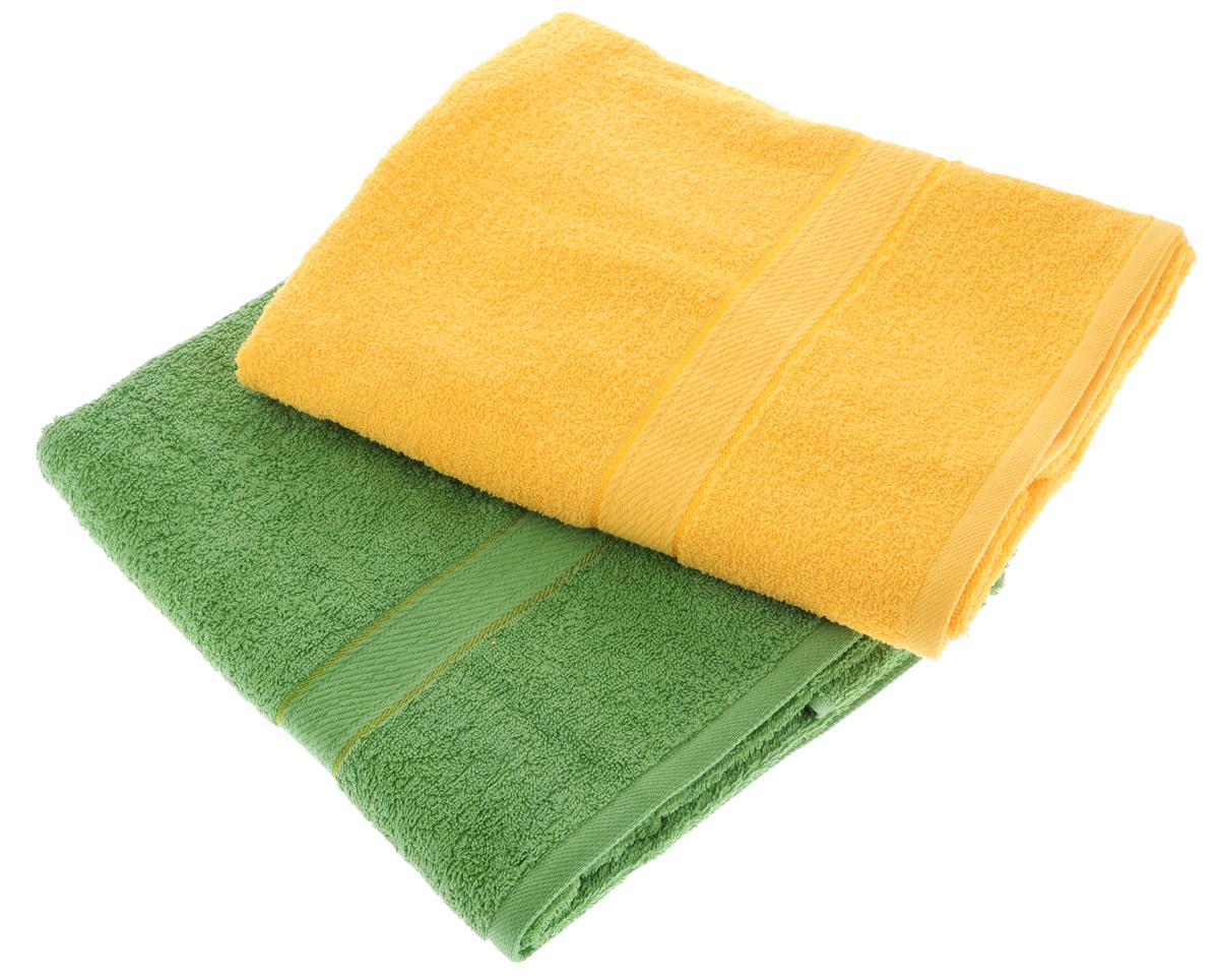 Набор махровых полотенец Aisha Home Textile, цвет: желтый, зеленый, 70 х 140 см, 2 штУзТ-ПМ-104-21-08Набор Aisha Home Textile состоит из двух махровых полотенец, выполненных изнатурального 100% хлопка. Изделия отлично впитывают влагу, быстро сохнут,сохраняют яркость цвета и не теряют формы даже после многократных стирок. Полотенца Aisha Home Textile очень практичны и неприхотливы в уходе.Комплектация: 2 шт.