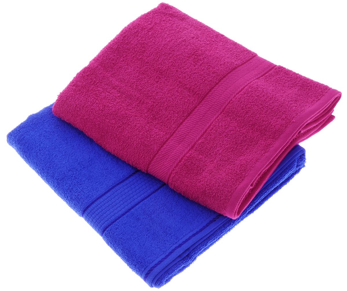 Набор махровых полотенец Aisha Home Textile, цвет: малиновый, синий, 70 х 140 см, 2 штУзТ-ПМ-104-28-19Набор Aisha Home Textile состоит из двух махровых полотенец, выполненных из натурального 100% хлопка. Изделия отлично впитывают влагу, быстро сохнут, сохраняют яркость цвета и не теряют формы даже после многократных стирок.Полотенца Aisha Home Textile очень практичны и неприхотливы в уходе. Комплектация: 2 шт.