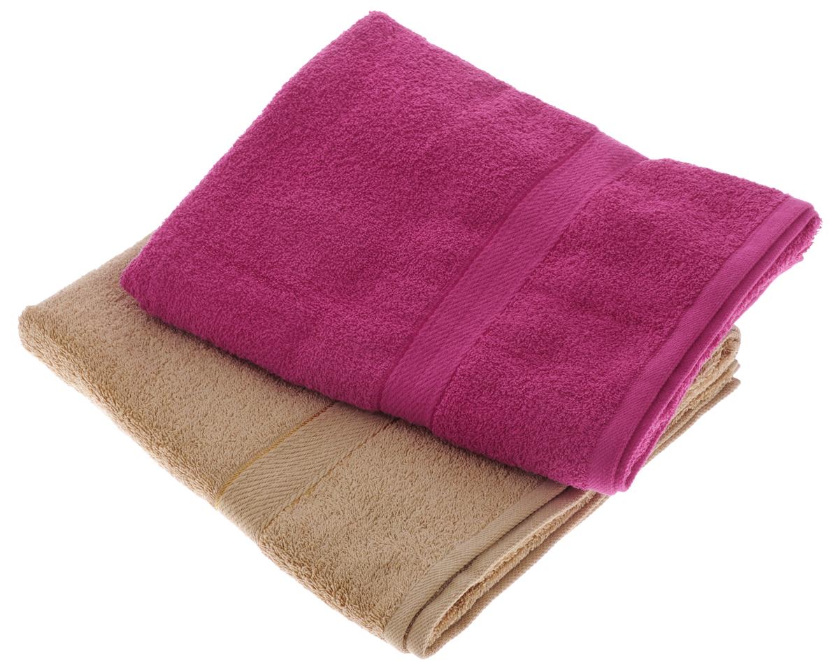 Набор махровых полотенец Aisha Home Textile, цвет: светло-коричневый, малиновый, 70 х 140 см, 2 шт набор полотенец 2 шт fiesta textile цвет розовый