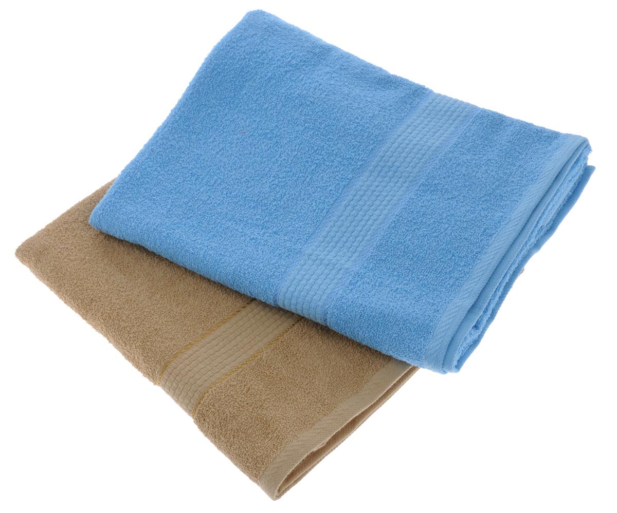 Набор махровых полотенец Aisha Home Textile, цвет: светло-коричневый, голубой, 70 х 140 см, 2 штУзТ-ПМ-104-23-06Набор Aisha Home Textile состоит из двух махровых полотенец, выполненных изнатурального 100% хлопка. Изделия отлично впитывают влагу, быстро сохнут,сохраняют яркость цвета и не теряют формы даже после многократных стирок. Полотенца Aisha Home Textile очень практичны и неприхотливы в уходе.Комплектация: 2 шт.