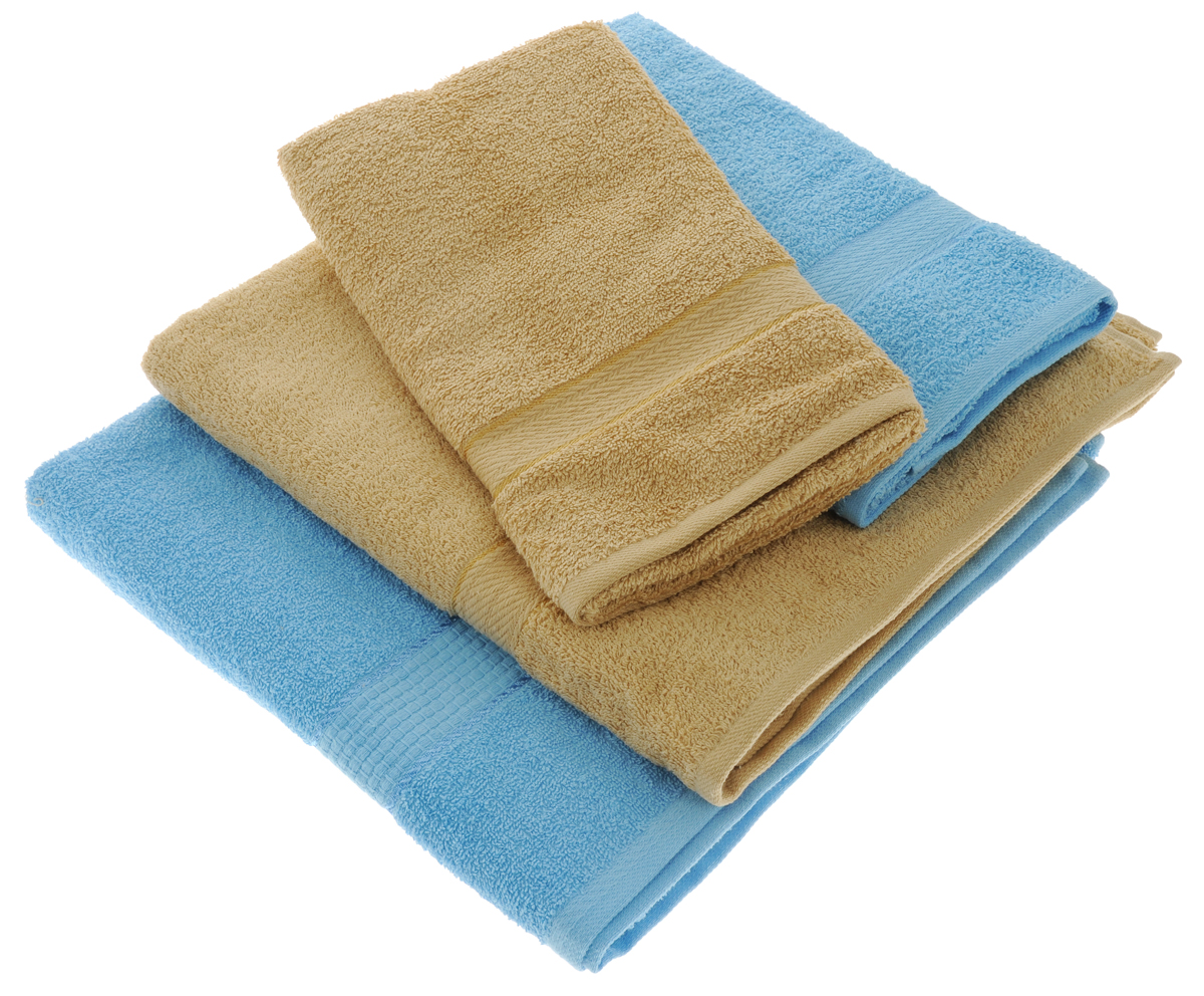 Набор махровых полотенец Aisha Home Textile, цвет: светло-коричневый, голубой, 4 штУзТ-ПМ-103-23-06Набор Aisha Home Textile состоитиз двух полотенец 50 х 90 сми двух банных 70 х 140 см.Полотенца выполнены изнатурального 100% хлопкаи махровой ткани.Изделия отлично впитывают влагу,быстро сохнут, сохраняют яркостьцвета и не теряют формы дажепосле многократных стирок.Полотенца Aisha Home Textile оченьпрактичны и неприхотливы в уходе. Комплектация: 4 шт.