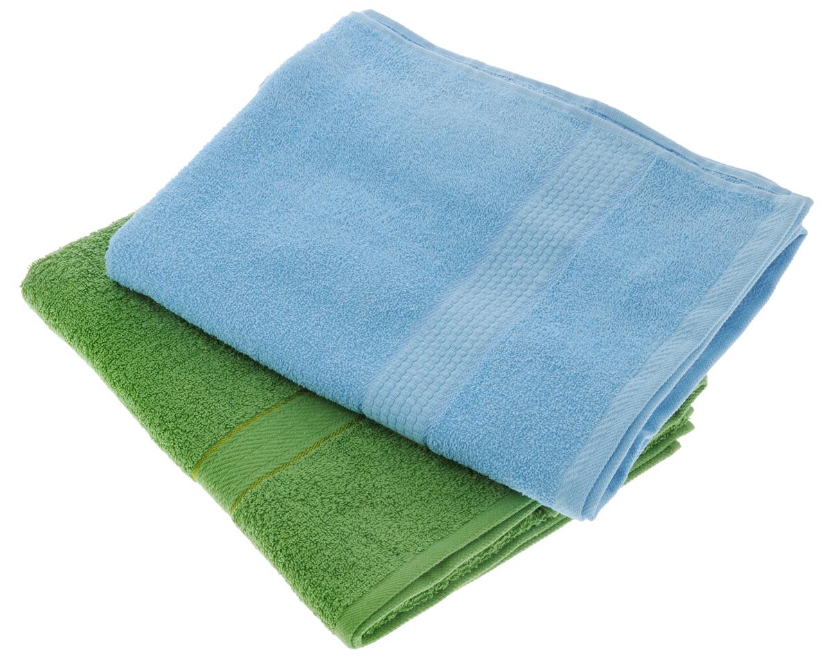 """Набор махровых полотенец """"Aisha Home Textile"""", цвет: голубой, зеленый, 70 х 140 см, 2 шт"""