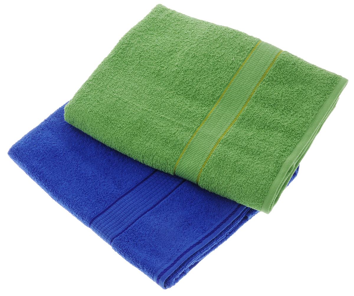 Набор махровых полотенец Aisha Home Textile, цвет: зеленый, синий, 70 х 140 см, 2 штУзТ-ПМ-104-08-19Набор Aisha Home Textile состоит из двух махровых полотенец, выполненных из натурального 100% хлопка. Изделия отлично впитывают влагу, быстро сохнут, сохраняют яркость цвета и не теряют формы даже после многократных стирок.Полотенца Aisha Home Textile очень практичны и неприхотливы в уходе. Комплектация: 2 шт.