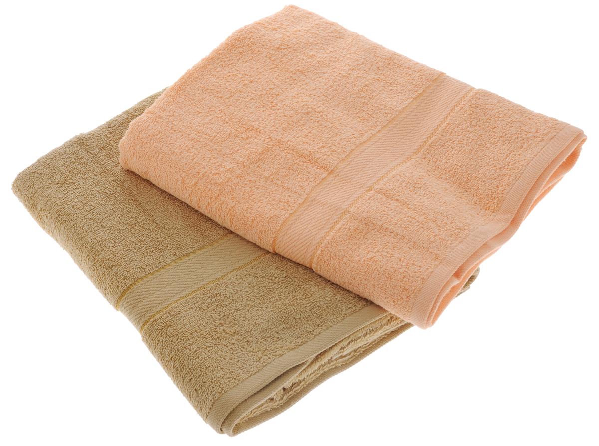 Набор махровых полотенец Aisha Home Textile, цвет: светло-коричневый, персиковый, 70 х 140 см, 2 штУзТ-ПМ-104-23-24Набор Aisha Home Textile состоит из двух махровых полотенец, выполненных из натурального 100% хлопка. Изделия отлично впитывают влагу, быстро сохнут, сохраняют яркость цвета и не теряют формы даже после многократных стирок.Полотенца Aisha Home Textile очень практичны и неприхотливы в уходе. Комплектация: 2 шт.