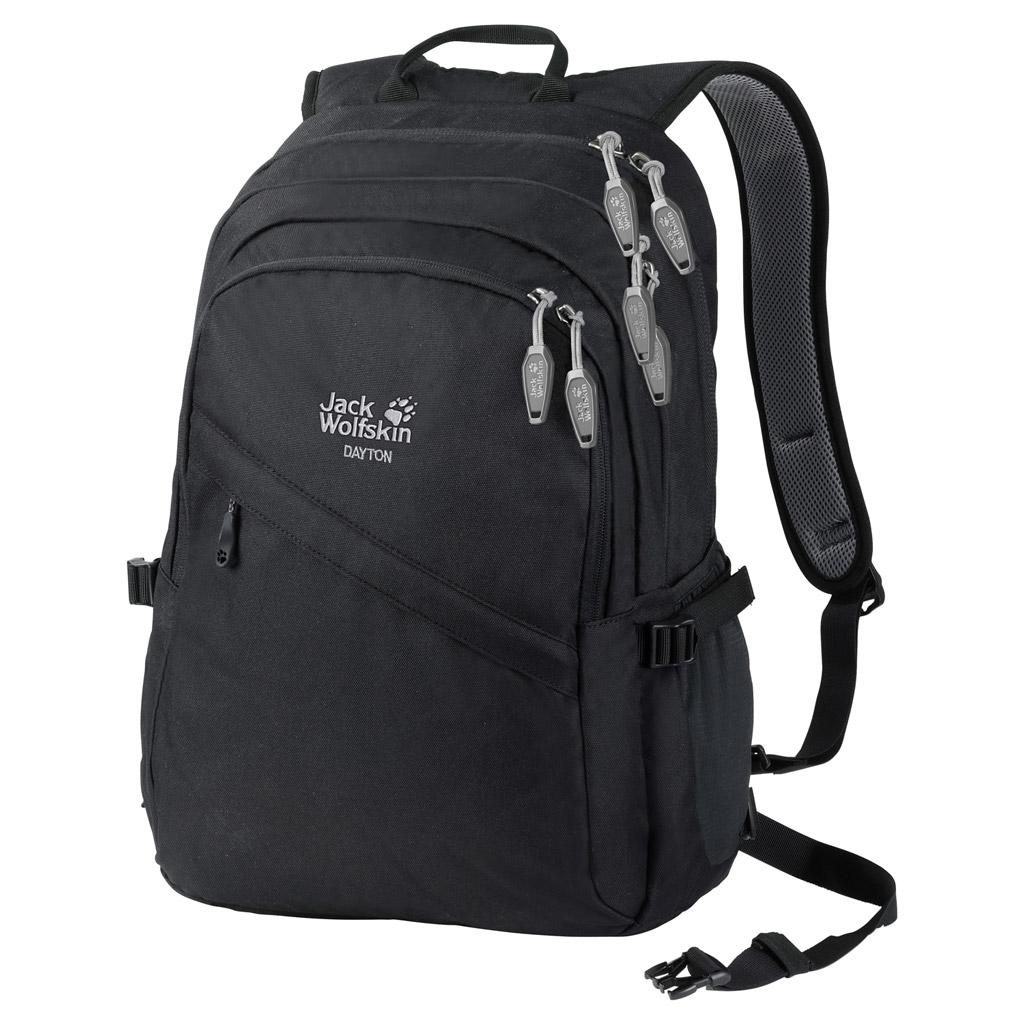 Рюкзак Jack Wolfskin Dayton, цвет: черный. 2002481-60002002481-6000Большой многоцелевой рюкзак Jack Wolfskin выполнен из текстиля. Модель с тремя отделениями, спереди имеется карман на молнии, боковые стороны дополнены накладными карманами. Рюкзак оснащен регулируемыми по длине плечевыми лямками и петлей для подвешивания.