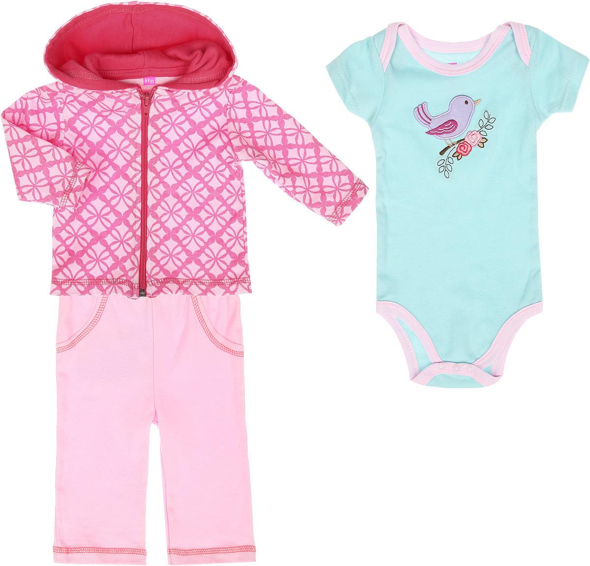 Комплект для девочки Hudson Baby: толстовка, боди-футболка, штанишки, цвет: розовый, бирюзовый. 50549. Возраст 9/12 месяцев боди детское hudson baby hudson baby боди пингвин 3 шт желто голубой