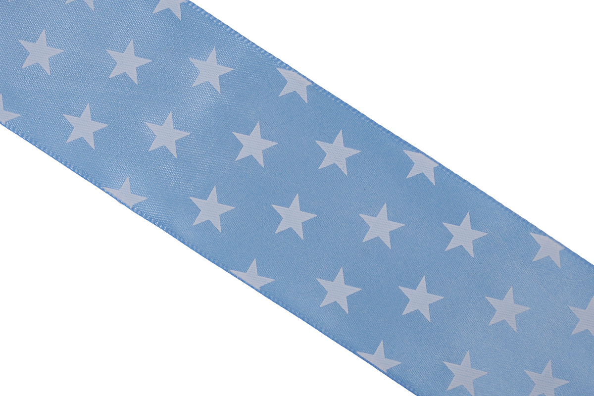 Лента атласная Dekor Line Звездочки, цвет: голубой, белый, 4,5 х 300 см7710585_голубойАтласная лента Dekor Line Звездочки выполнена из высококачественного полиэстера. Область применения атласной ленты весьма широка. Лента предназначена для оформления цветочных букетов, подарочных коробок, пакетов. Кроме того, она с успехом применяется для художественного оформления витрин, праздничного оформления помещений, изготовления искусственных цветов. Ее также можно использовать для творчества в различных техниках, таких как скрапбукинг, оформление аппликаций, для украшения фотоальбомов, подарков, конвертов, фоторамок, открыток и прочего.Ширина ленты: 4,5 см.Длина ленты: 3 м.