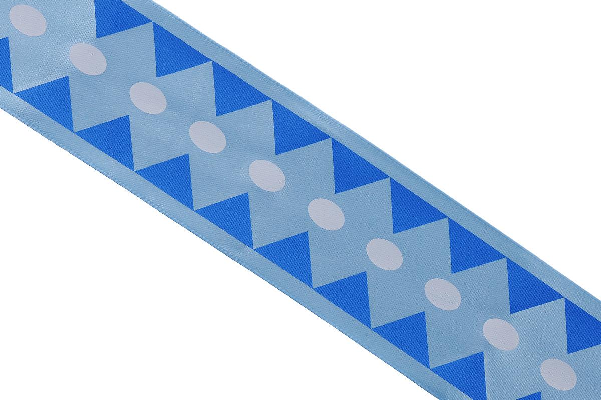Лента атласная Dekor Line Ромбы, цвет: синий, голубой, 4,5 х 300 см