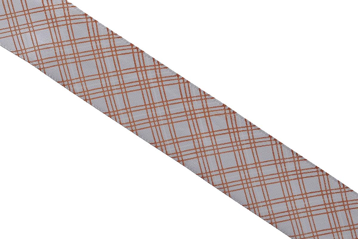 Лента атласная Dekor Line Пересечение, цвет: светло-серый, коричневый, 2,5 х 300 см