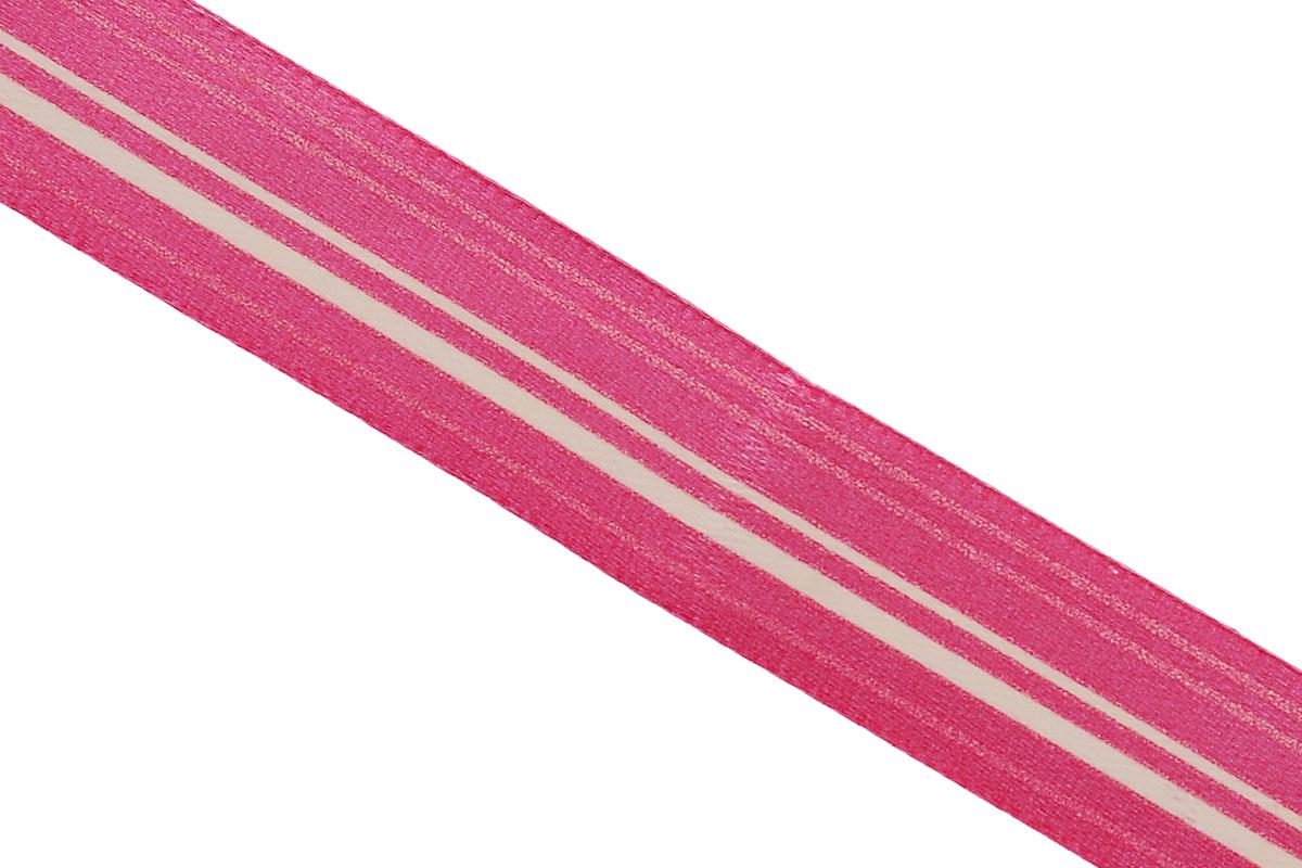 Лента атласная Dekor Line Горизонталь, цвет: красный, слоновая кость, 1,5 х 300 см
