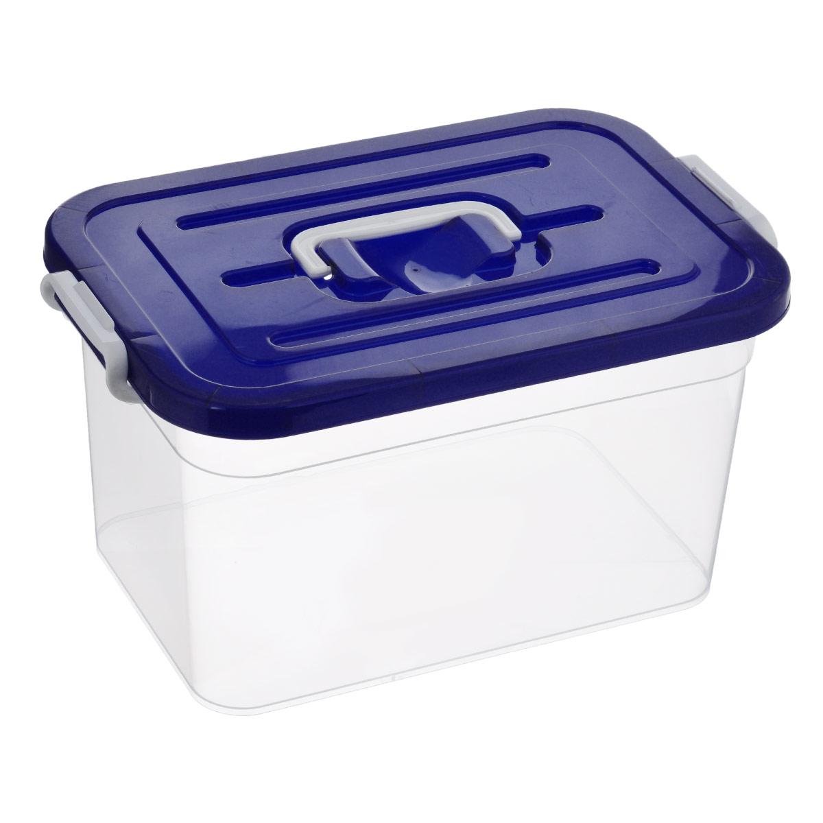 Контейнер для хранения Полимербыт, цвет: темно-синий, 10 лС810_темно-синийКонтейнер для хранения Полимербыт выполнен из высококачественного пищевого пластика. Контейнер снабжен удобной ручкой и двумя пластиковыми фиксаторами по бокам, придающими дополнительную надежность закрывания крышки. Вместительный контейнер позволит сохранить различные нужные вещи в порядке, а герметичная крышка предотвратит случайное открывание, защитит содержимое от пыли и грязи. Объем: 10 л.