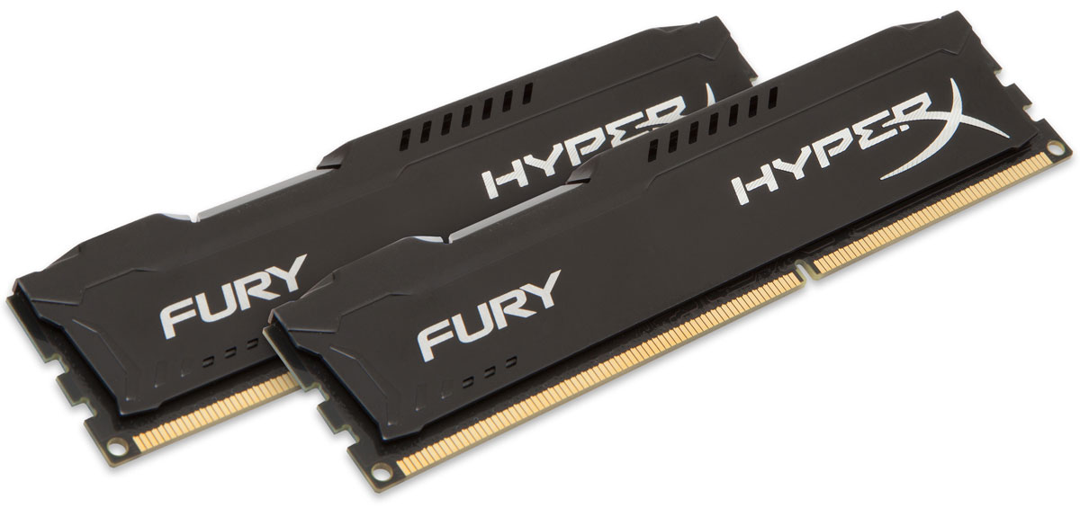 Kingston HyperX Fury DDR3 1600 МГц 2x4GB, Black комплект оперативной памяти (HX316C10FBK2/8) kingston hxf30 hyperx fury digital usb 3 0 flash drive blue black 32gb