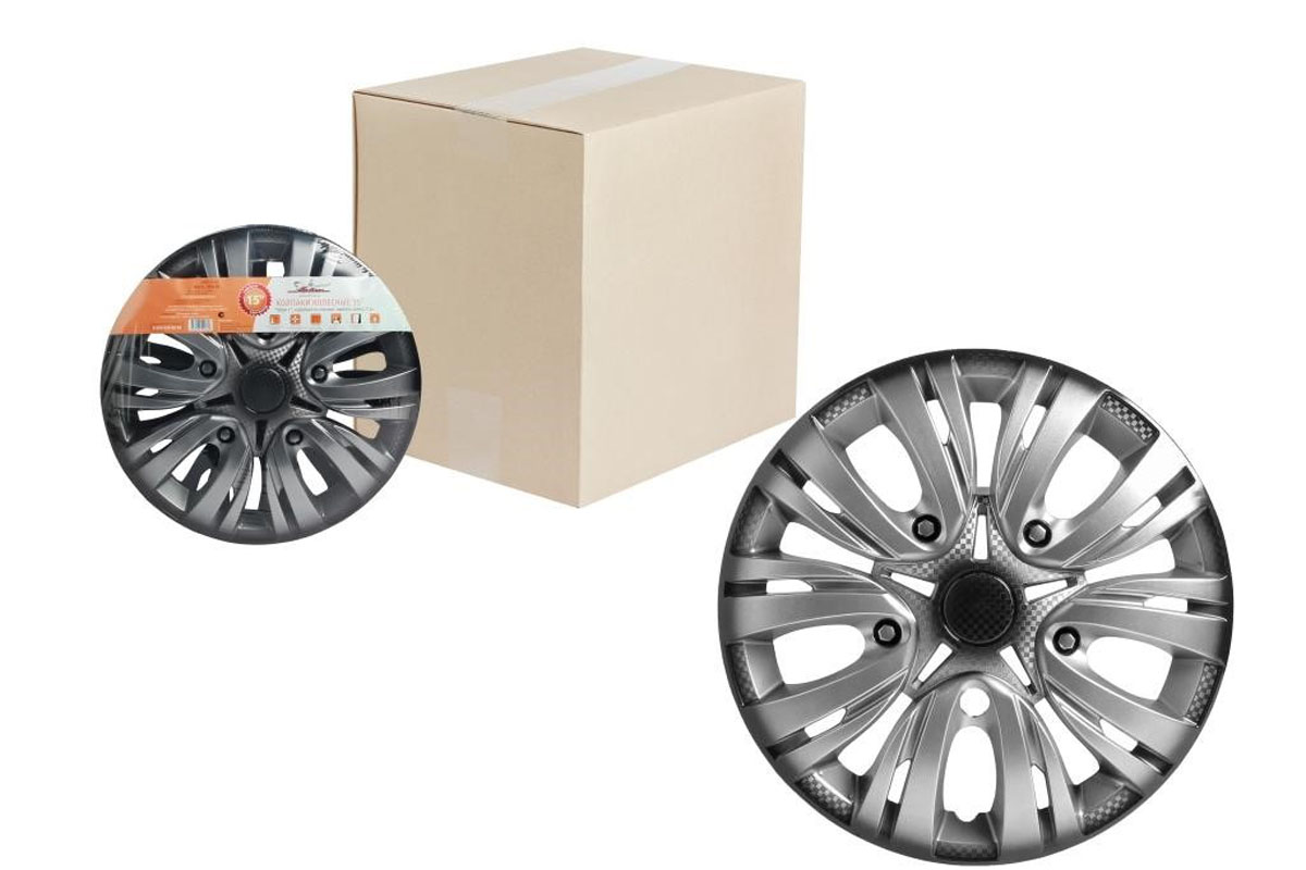 Колпаки колесные Airline Лион +, цвет: серебристо-черный, 14, 2 шт. AWCC-14-02 декоративные колпаки на штампованные колеса 16