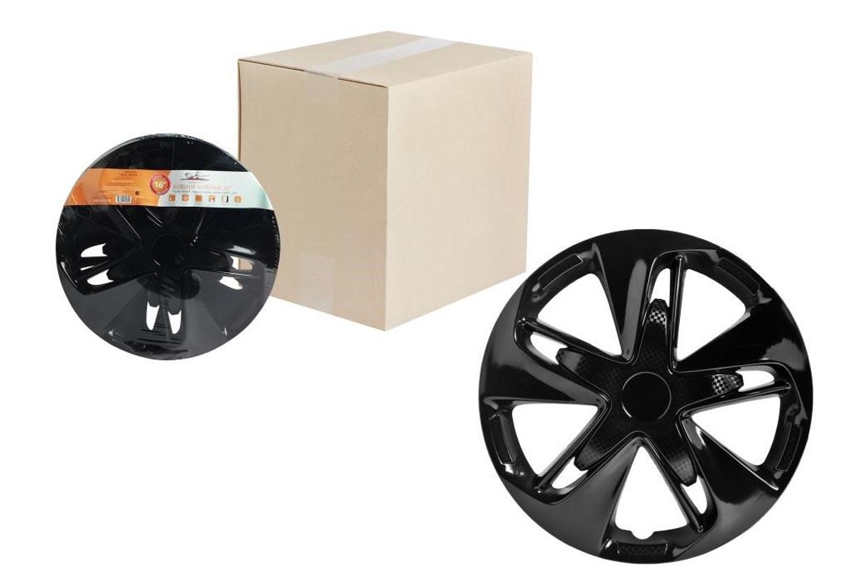 Колпаки колесные Airline Супер Астра, цвет: черный глянец, 16, 2 шт. AWCC-16-04 колпаки колесные airline 16 супер астра черный глянец карбон компл 2шт awcc 16 04