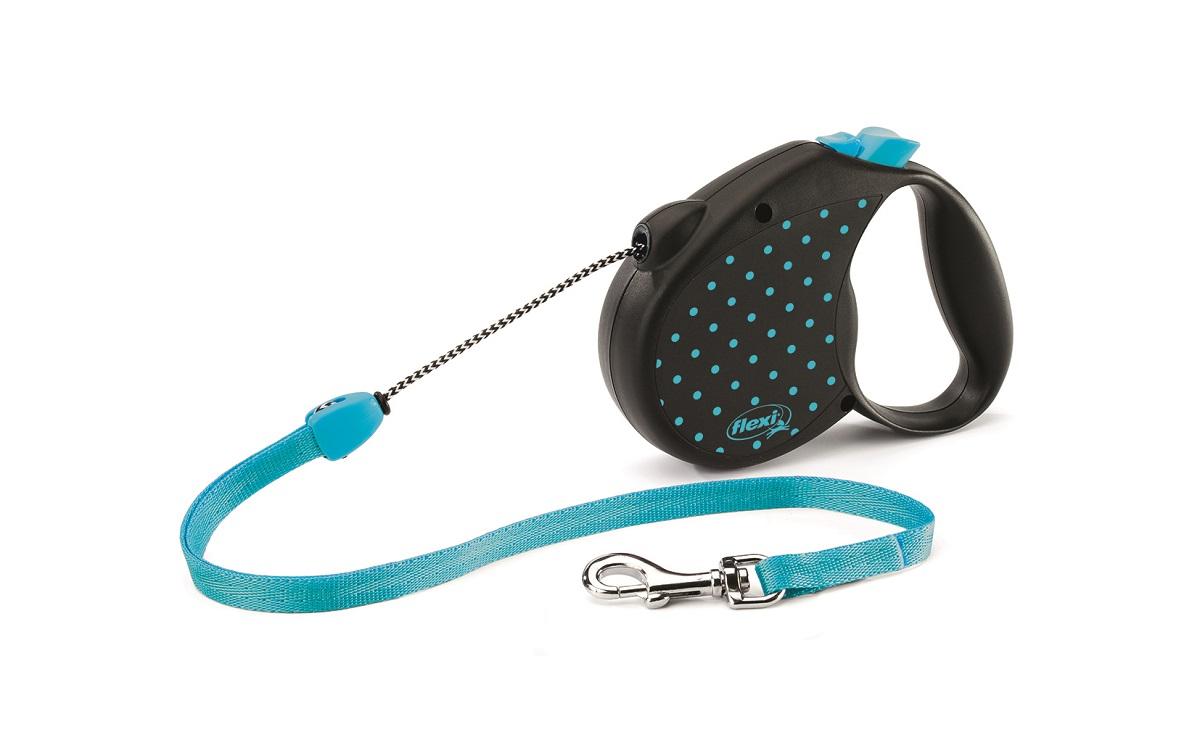 """Поводок-рулетка Flexi """"Color М"""" для собак до 20 кг, цвет: черный, голубой, 5 м"""