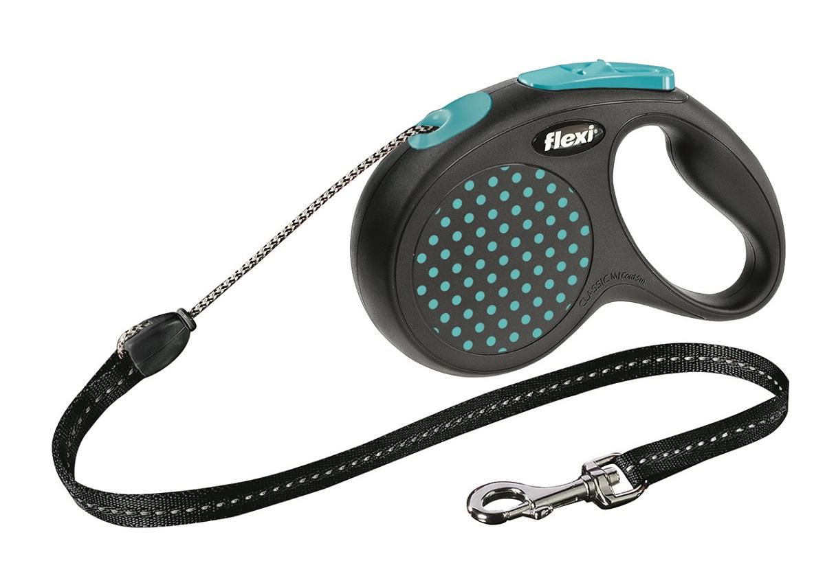 Поводок-рулетка Flexi Design М для собак до 20 кг, цвет: черный, бирюзовый, 5 м поводок безопасности для ребенка