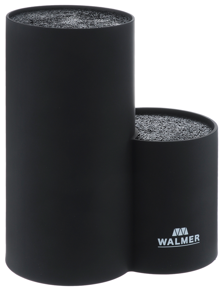 Подставка для ножей Walmer, круглая, двойная, высота 22,5 смW08002401Подставка для ножей Walmer выполнена из пластика с покрытием Soft-touch и представляет собой две емкости с гибкими пластиковыми стержнями внутри. Это позволяет хранить ножи любой формы, вне зависимости от их размеров или формы среза. Размещайте ножи в любом месте блока-подставки, просто воткнув их в нее. Вы также можете комбинировать ножи из разных наборов. Подставка сохранит остроту ножей за счет того, что ножи не царапаются об нее. Эта легкая, безопасная и удобная подставка послужит прекрасным подарком. Можно мыть в посудомоечной машине. Размер подставки: 19,5 х 10,5 х 22,5 см.