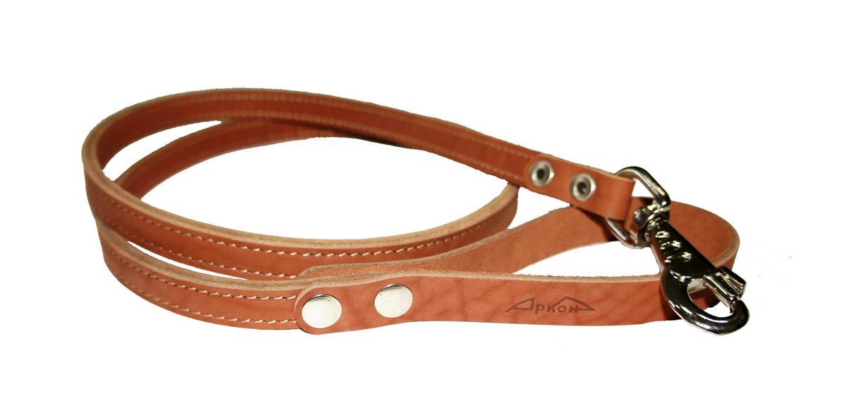 Поводок для собак Аркон Стандарт, цвет: коньячный, ширина 1,6 см, длина 140 смп16/2кПоводок для собак Аркон Стандарт изготовлен из высококачественной натуральной кожи. Карабин выполнен из легкого сверхпрочного сплава. Изделие отличается не только исключительной надежностью и удобством, но и привлекательным современным дизайном.Поводок - необходимый аксессуар для собаки. Ведь в опасных ситуациях именно он способен спасти жизнь вашему любимому питомцу. Иногда нужно ограничивать свободу своего четвероногого друга, чтобы защитить его или себя от неприятностей на прогулке. Длина поводка: 140 см.Ширина поводка: 1,6 см.