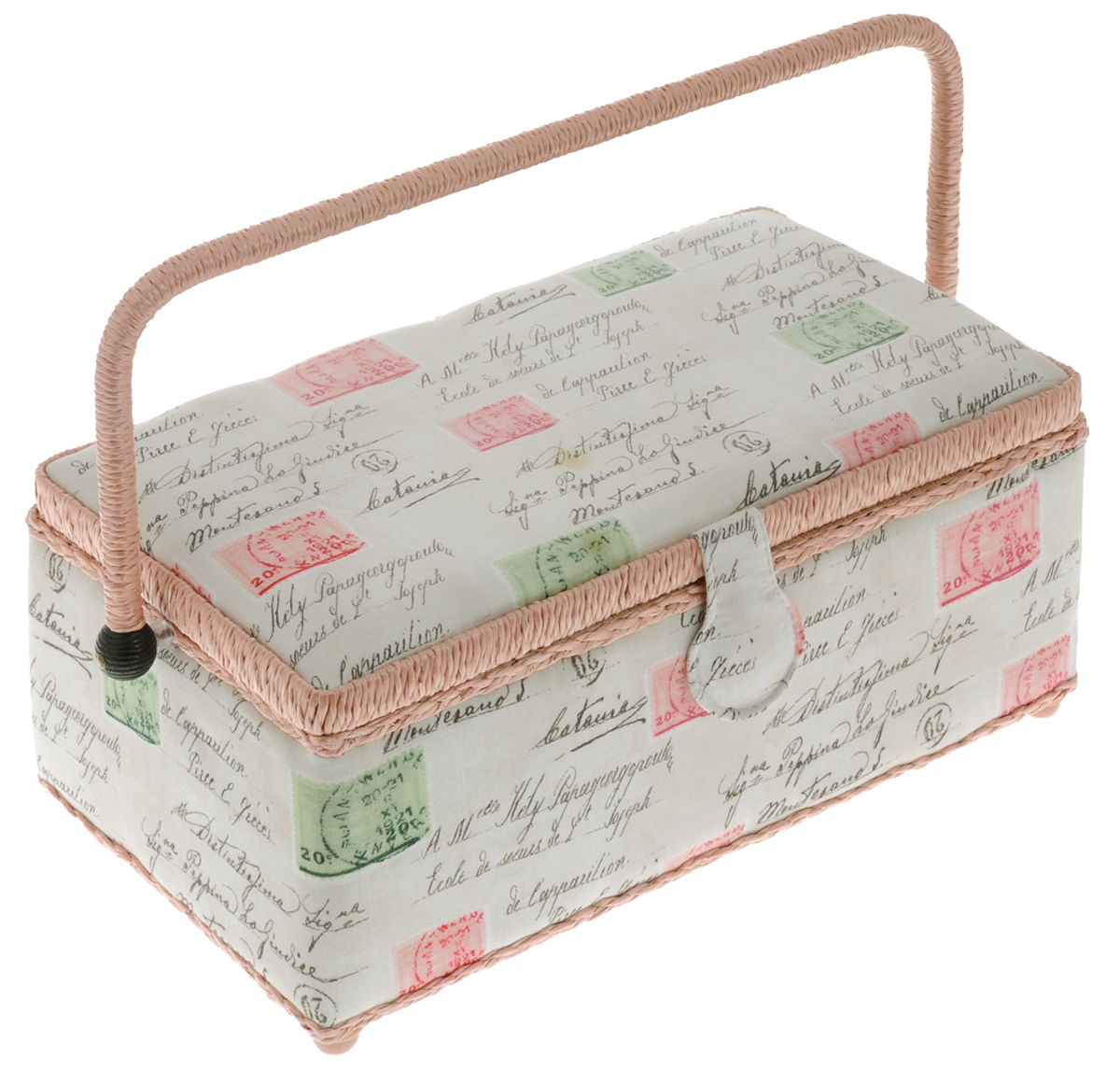 Шкатулка для рукоделия RTO Марки, 33 х 18,5 х 14 см3649-RT-59Шкатулка RTO Марки выполнена из дерева иобтянута тканьюс ярким рисунком почтовых марок и мягкимнаполнителем. Крышка закрывается на магнитный замок, дляпереноски имеетсяудобная ручка. Внутри шкатулки одновместительное отделение.Внутренняя сторона крышки оснащена кармашком на резинке и круглойигольницей.Шкатулка снабжена съемным пластиковымвкладышем с 4секциями для хранения различных мелочей и 4пластиковыминожками. Такая оригинальная шкатулка подойдет для храненияразныхпредметов рукоделия: ниток, иголок, бусин, кнопок и многого другого.ШкатулкаRTOМарки будет предметом гордости ее обладательницы. Размер вкладыша: 28 х 14 х 4 см. Средний размер секций вкладыша: 7,5 х 6,5 х 2,5см. Высота шкатулки (с учетом ручки): 24 см.