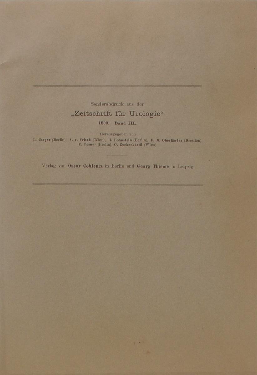 Zeitschrift fur Urologie. Band IIIZМ5000Verlag von Oscar Coblentz. Отличное состояние. Переплет: мягкий, формат: увеличенный