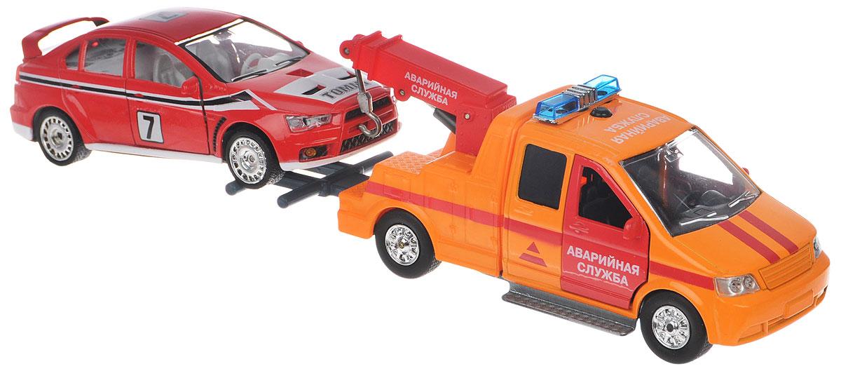ТехноПарк Эвакуатор инерционный с автомобилем autotime набор машинок recovery truck long эвакуатор с прицепом