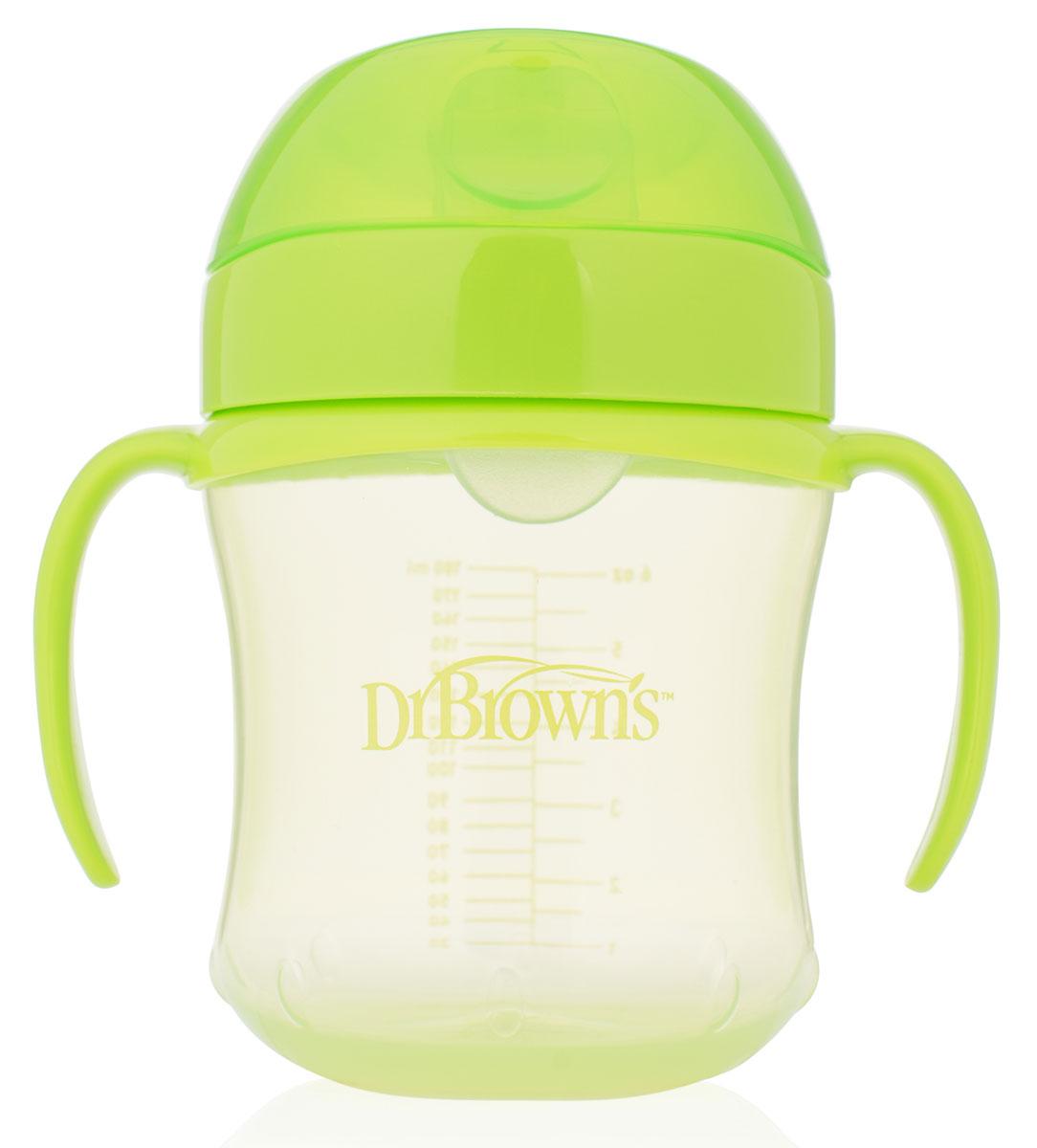 Dr.Brown's Поильник-непроливайка с мягким носиком от 6 месяцев цвет салатовый 180 мл -  Поильники