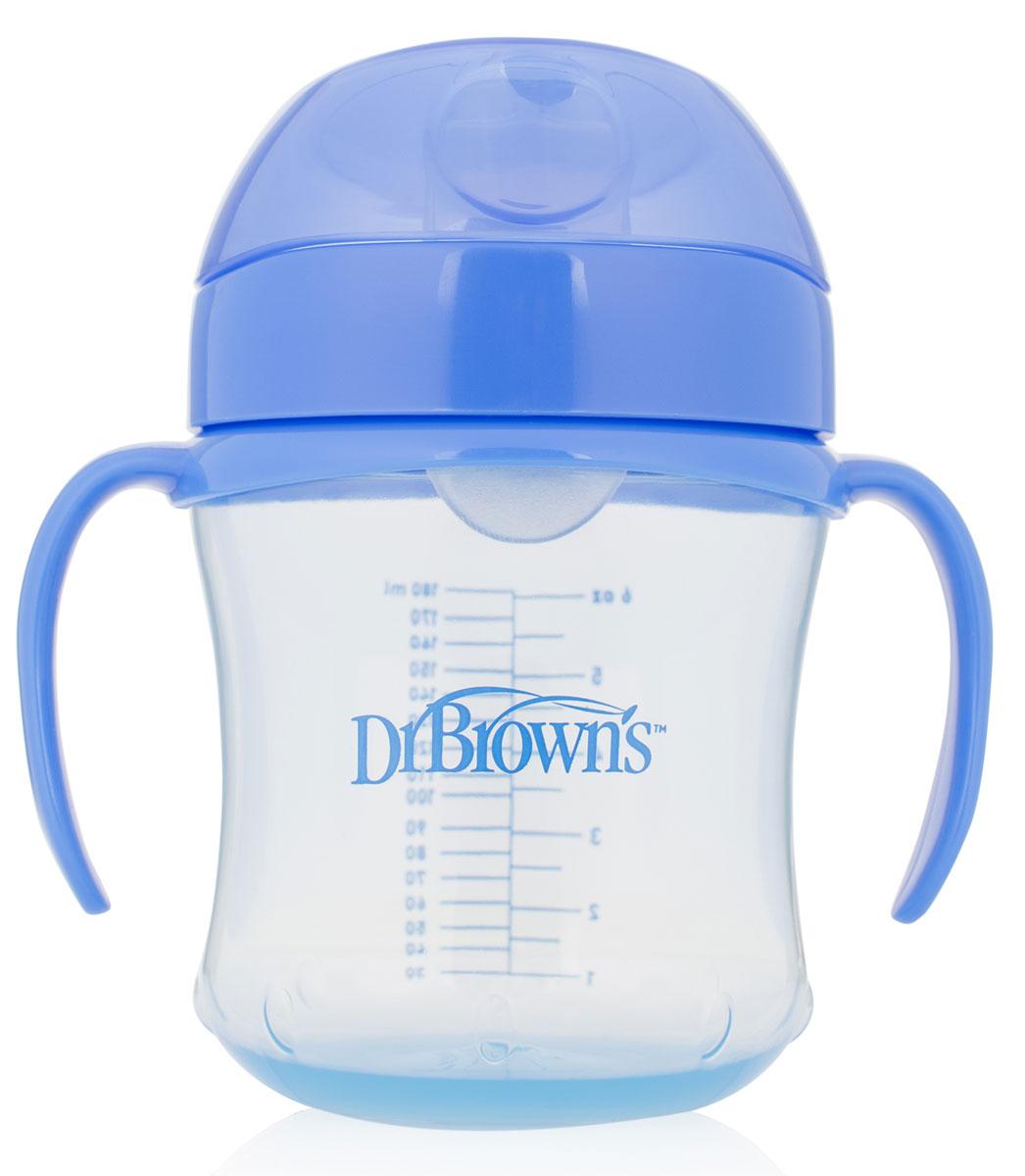 Dr.Brown's Чашка-непроливайка 180 мл с мягким носиком ручками и откидывающейся крышкой 6+ месяцев синяя -  Поильники