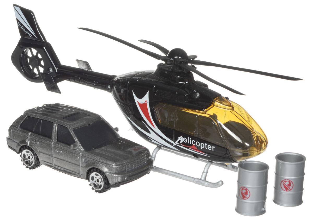 Big Motors Игровой набор Вертолет и машина цвет черный серый