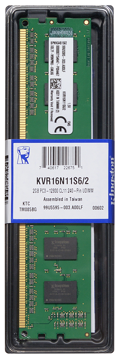 Kingston DDR3 2GB 1600 МГц модуль оперативной памяти (KVR16N11S6/2) оперативная память 2gb pc3 10600 1333mhz ddr3 dimm kingston kvr13n9s6 2