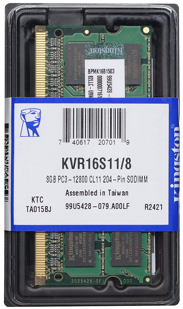 Kingston DDR3 8GB 1600 МГц модуль оперативной памяти (KVR16S11/8)KVR16S11/8Модуль оперативной памяти Kingston типа DDR3 для ноутбуков обеспечивает увеличенную рабочую частоту (по сравнению с DDR2) при сниженном тепловыделении и экономном энергопотреблении. Напряжение питания при работе составляет 1,5 В. В модуле также имеется 16 чипов с двухсторонним расположением.Объем памяти 8 ГБ позволит свободно работать со стандартными, офисными и профессиональными ресурсоемкими программами, а также современными требовательными играми. Работа осуществляется при тактовой частоте 1600 МГц и пропускной способности, достигающей до 12800 Мб/с, что гарантирует качественную синхронизацию и быструю передачу данных, а также возможность выполнения множества действий в единицу времени. Параметры тайминга 11-11-11 гарантируют быструю работу системы.ValueRAM Kingston - это модули памяти, изготовленные в соответствии с отраслевыми стандартами, обеспечивающие непревзойденную производительность и отличающиеся легендарной надежностью Kingston.