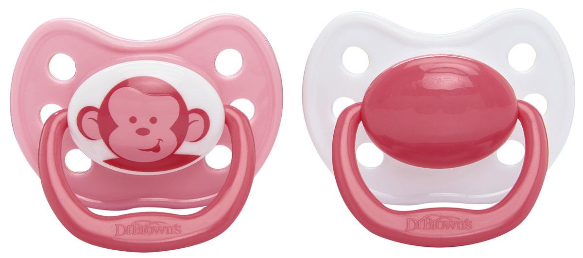 Dr.Brown's Пустышка силиконовая ортодонтическая от 0 до 6 месяцев цвет розовый белый 2 шт