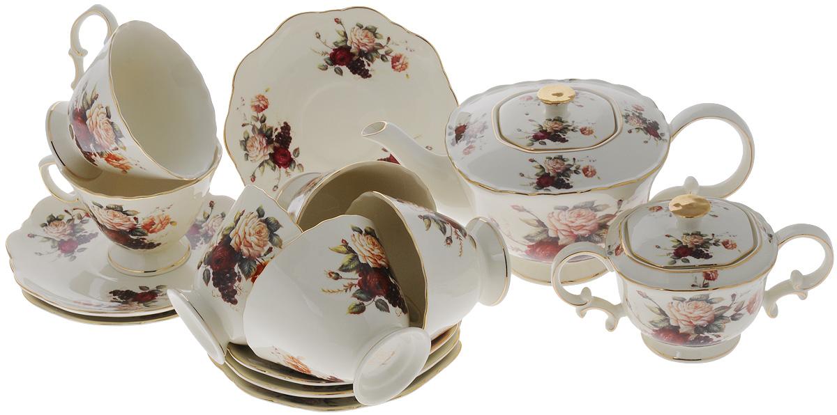 Набор чайный Elan Gallery Бархатный нектар, 14 предметов801147Чайный набор Elan Gallery Бархатный нектар состоит из 6 чашек, 6 блюдец, сахарницы и заварочного чайника. Изделия, выполненные из высококачественной керамики, имеют элегантный дизайн и классическую форму.Такой набор прекрасно подойдет как для повседневного использования, так и для праздников. Чайный набор Elan Gallery Бархатный нектар - это не только яркий и полезный подарок для родных и близких, а также великолепное решение для вашей кухни или столовой. Не использовать в микроволновой печи.Объем чашки: 250 мл. Размер чашки (по верхнему краю): 10 х 10 см. Высота чашки: 7,5 см.Размер блюдца (по верхнему краю): 15,5 х 15,5 см.Высота блюдца: 2 см. Высота чайника (без учета ручки и крышки): 10,5 см. Объем чайника: 1,4 л. Размер сахарницы по верхнему краю: 7,5 х 7,5 см. Высота сахарницы (без учета крышки): 7,5 см.