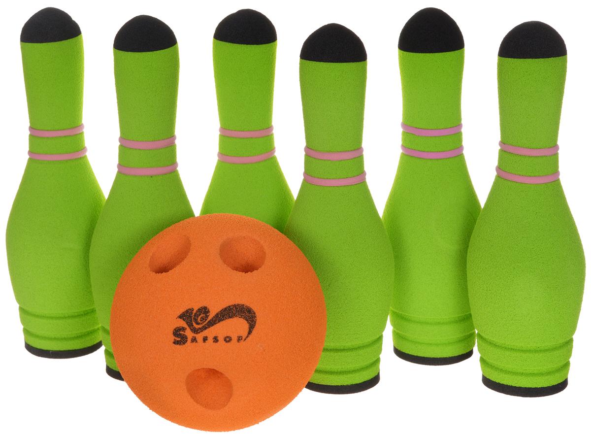 Safsof Игровой набор Мини-боулинг цвет салатовый оранжевый