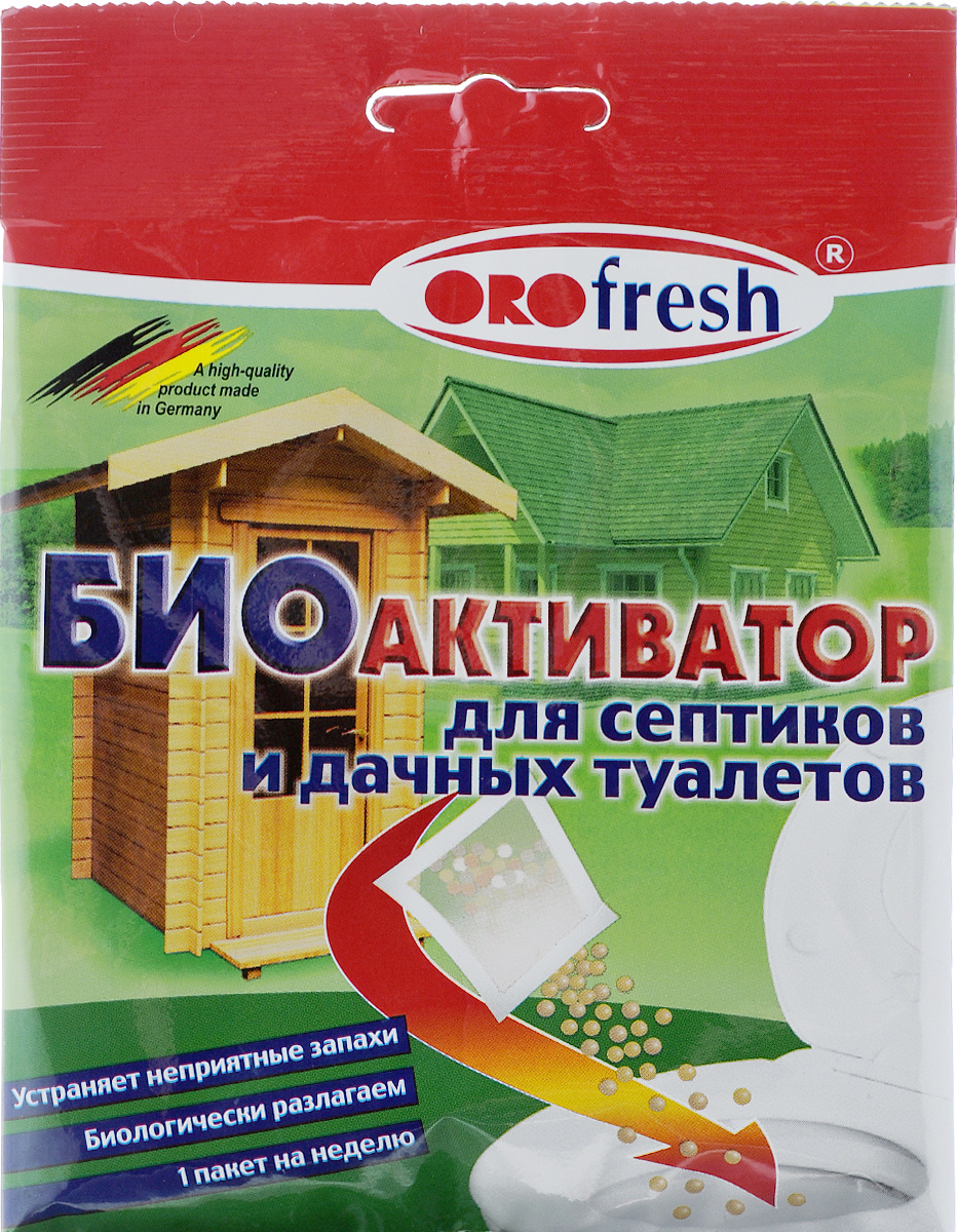 Биоактиватор для септиков и дачных туалетов ORO-Fresh, 25 г07017/25Биоактиватор ORO-Fresh - это смесь специальных микроорганизмов (бактерий) для естественной биологической очистки сливных очистительных установок. Он поддерживает процесс биологического разложения, уменьшает выделения неприятного запаха, продлевает период между удалениями разложившихся осадков, запускает в работу новую очистительную станцию.Состав: биоактивные микроорганизмы (бактерии), носитель.Товар сертифицирован.