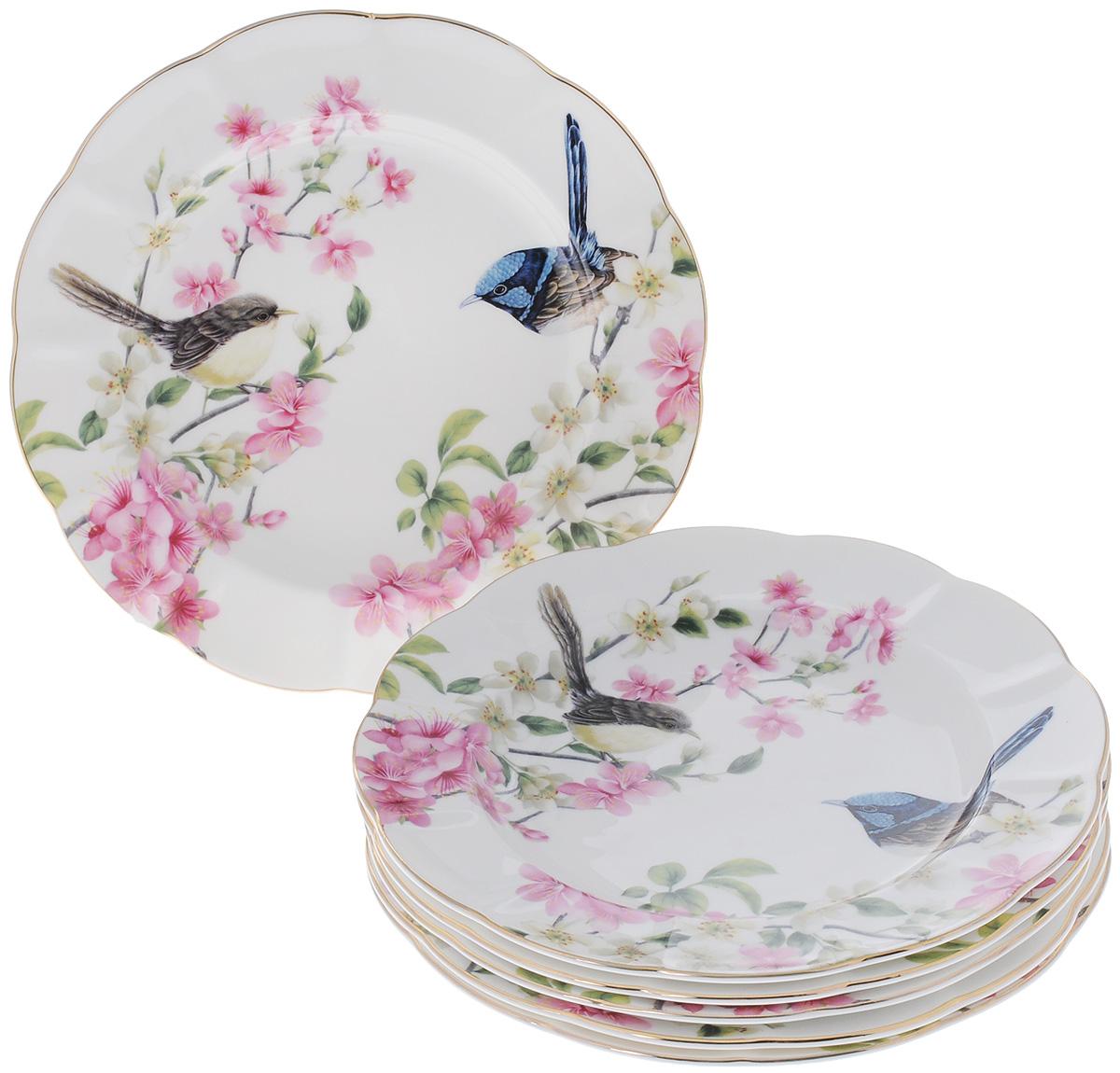 Набор тарелок Elan Gallery Райские птички, диаметр 19 см, 6 шт тарелки elan gallery н��бор тарелок райские птички