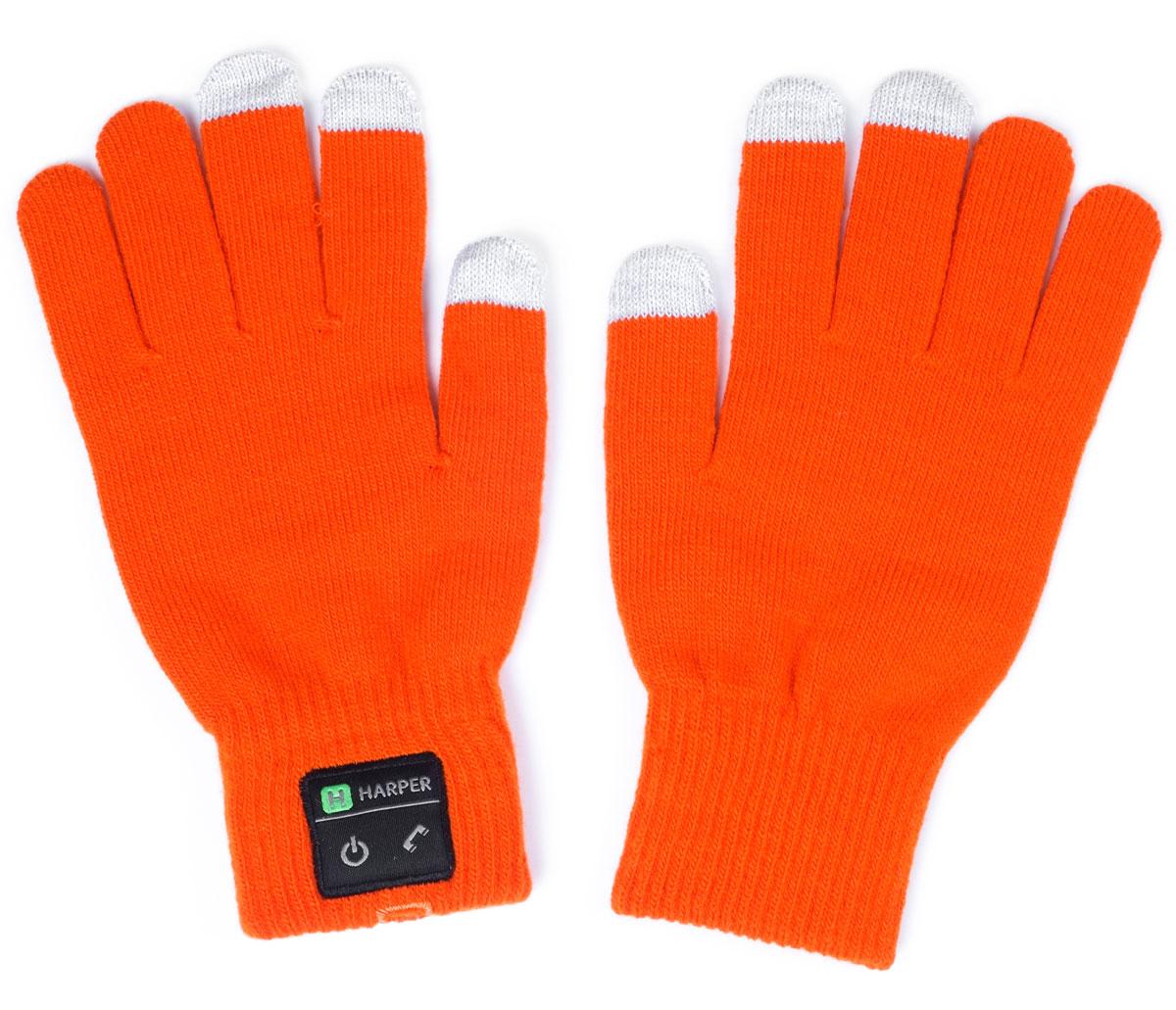 Harper HB-503, Orange перчатки с Bluetooth-гарнитуройH00000923Перчатки Harper HB-503 с Bluetooth-гарнитурой. В основе используется качественный материал, состоящий из акрила - 84%, спандекса - 10%, полиэстра - 6%. Аккуратная пряжа, шерсть не раздражает руки, без посторонних запахов. Неплохо согревают в зимнее время. В перчатках можно управлять устройством, не снимая их. Динамик расположен в большом пальце левой перчатки, а микрофон в мизинце. Модуль с двумя механическими кнопками (включение и ответ на вызов) находится на боковой части. Для того чтобы не пропустить входящий вызов, в конструкции корпуса предусмотрена вибрация.Размер: L