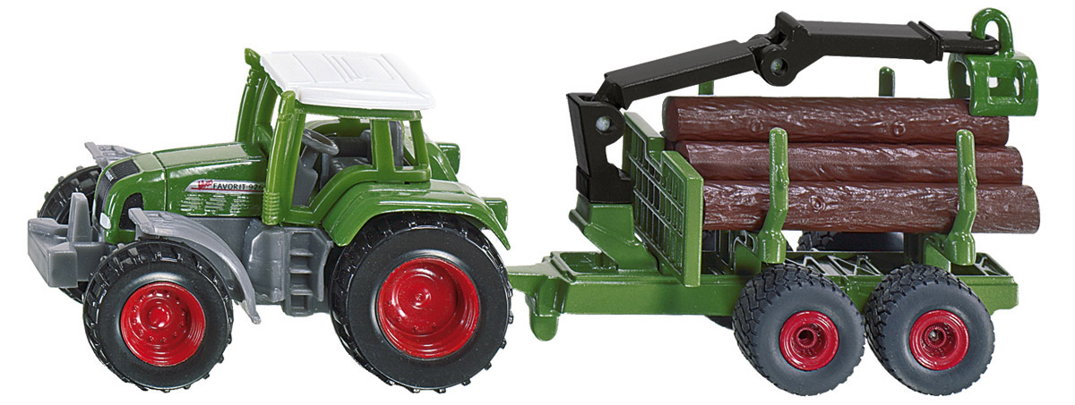 Siku Трактор Fendt c прицепом для бревен siku прицеп рыхлитель