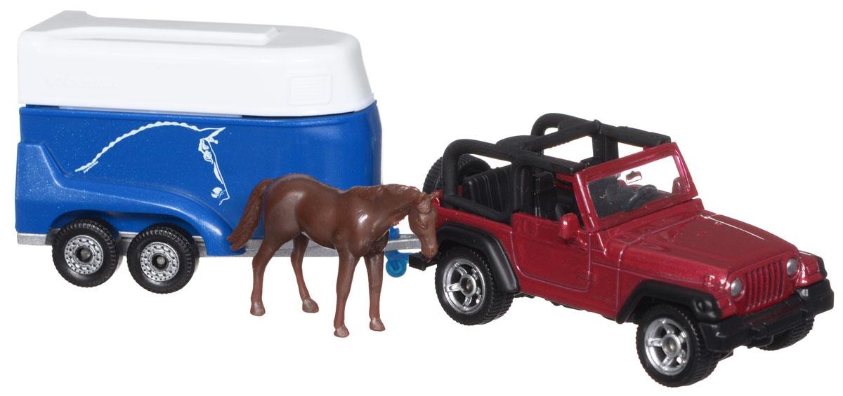 Siku Внедорожник Jeep Wrangler с прицепом для перевозки лошадей tomy прицеп для перевозки лошадей с лошадью и жеребенком с 3 лет
