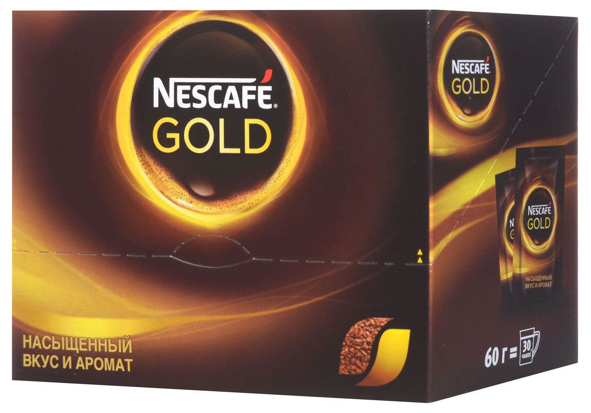 Фото Nescafe Gold 100% кофе растворимый сублимированный, 30 шт