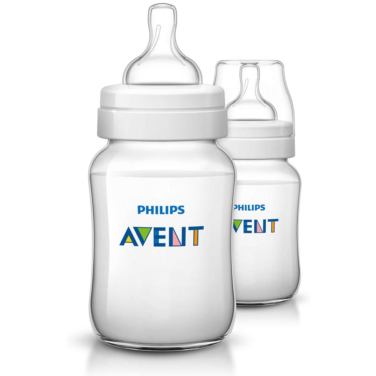 Philips Avent Бутылочка 260 мл, 2 шт. Соска с медленным потоком для детей от 1 месяца SCF563/27 -  Бутылочки