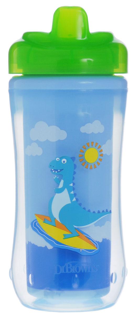 Dr.Brown's Чашка-термос 300 мл с твердым носиком 12+ месяцев Зеленый Динозавр -  Поильники