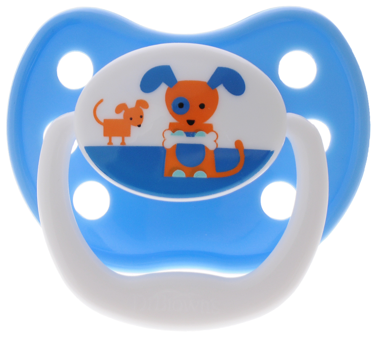 Dr.Brown's Пустышка PreVent Классик Собачка от 6 до 12 месяцев мозаика мягкая для малышей собачка и кошечка 45902