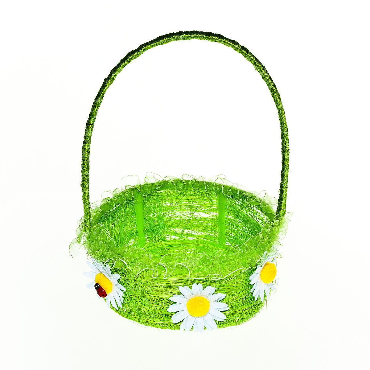 Корзина декоративная Home Queen Цветы, цвет: зеленый, 15,5 см х 14,5 см х 6,5 см64337_ зеленыйДекоративная корзина Home Queen Цветы предназначена для хранения различных мелочей и аксессуаров. Изделие изготовлено из сизаля и пластика. Корзина оснащена удобной ручкой и декорирована аппликацией в виде цветов.Такая корзина станет оригинальным и необычным подарком или украшением интерьера. Размер корзины: 15,5 см х 14,5 см х 6,5 см.Диаметр дна: 13 см.Высота ручки: 14 см.