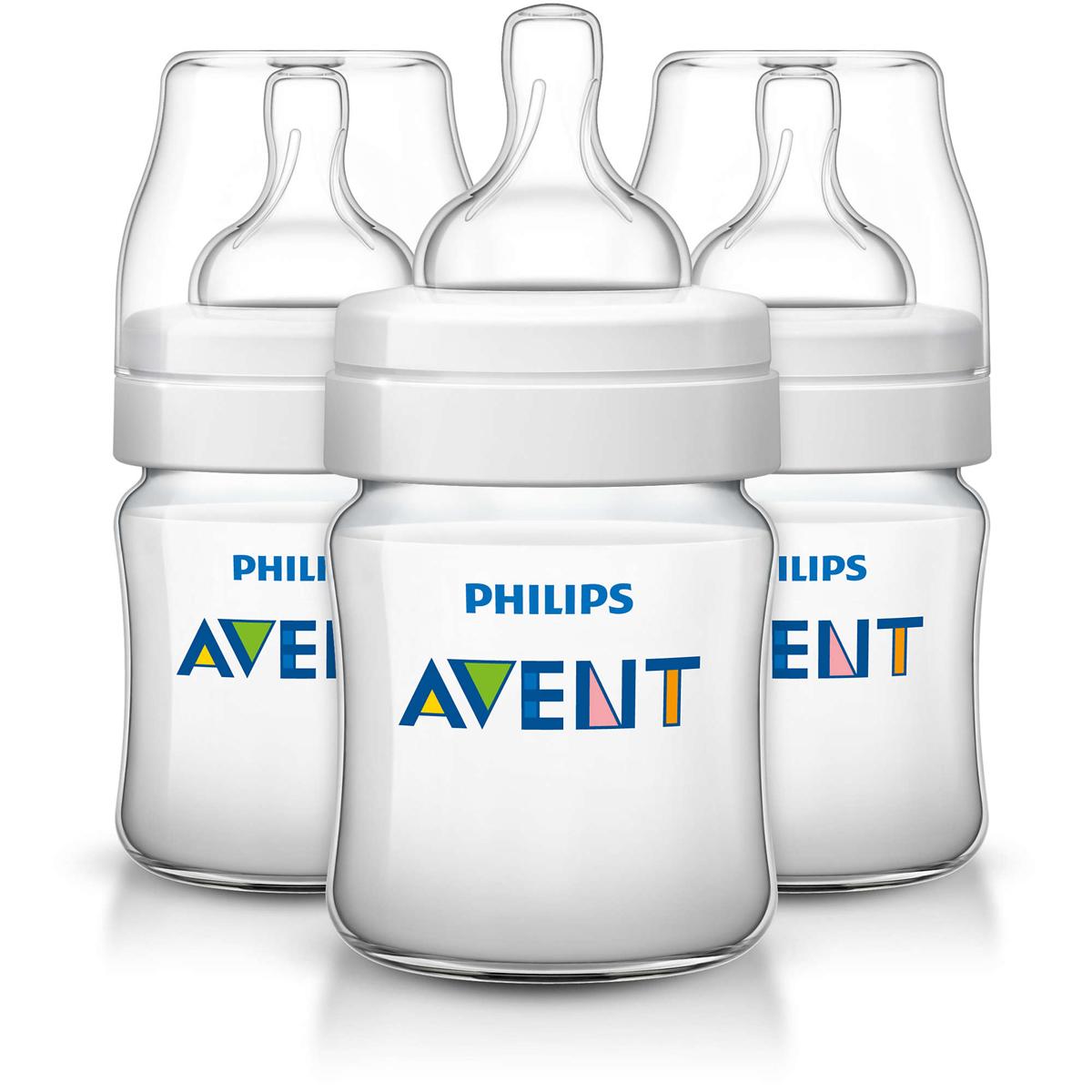Philips Avent Бутылочка 125 мл, 3 шт. Соска с потоком для новорожденного SCF560/37 -  Бутылочки